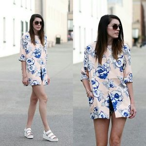 Forever 21 short sleeve floral light coat